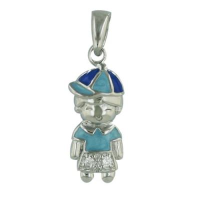 Sterling Silver Pendant Blue/Calm Aqua Epoxy Cap Boy