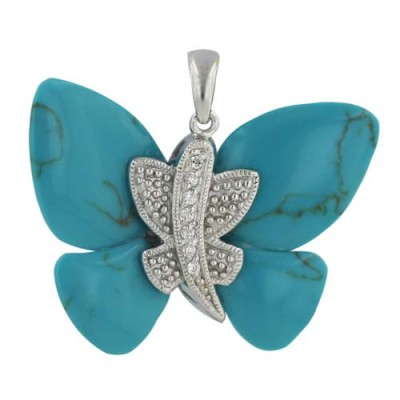 Sterling Silver Pendant Recontructed Turquoise+Clear Cubic Zirconia Butterfly