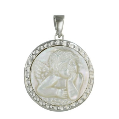 Sterling Silver Pendant 22mm Round White Mother of Pearl Child Angel Cameo Wit