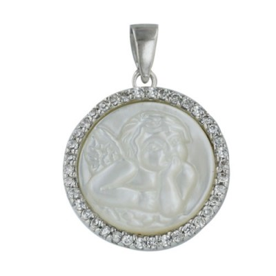 Sterling Silver Pendant 19mm Round White Mother of Pearl Child Angel Cameo Wit