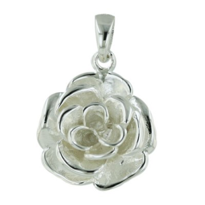 Sterling Silver Pendant 16mm Plain Rose--E-coated/Nickle Free--
