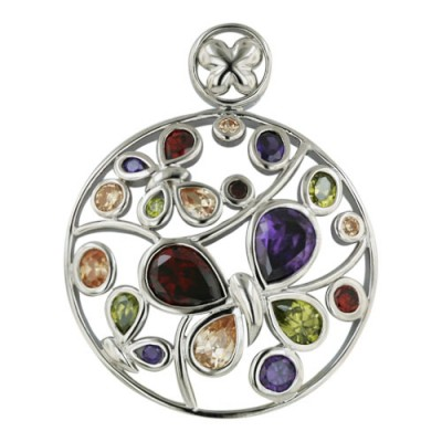 Sterling Silver Pendant 30-30mm Round Shape Open Butterfly with Amethyst+Garnet