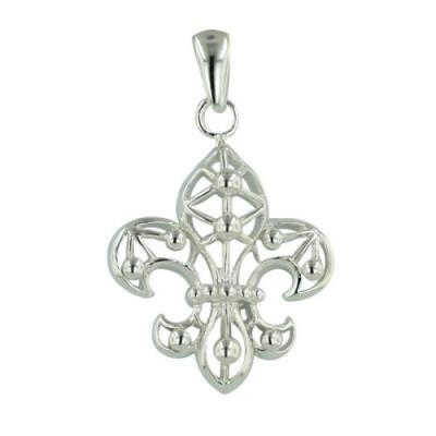 Sterling Silver Pendant of Fleu-De-Lis Filigree -E-Coated-
