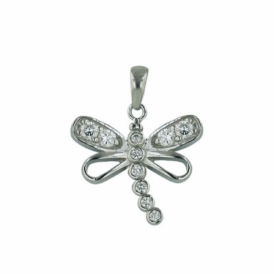 Sterling Silver Pendant of Dragonfly with Clear Cubic Zirconia