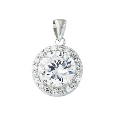 Sterling Silver Pendant 8.5mm Round Clear Cubic Zirconia with Clear Cubic Zirconia Border