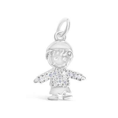 Sterling Silver Pendant Smiling Boy with Hat with Clear Cubic Zirconia Shirt-E-coated