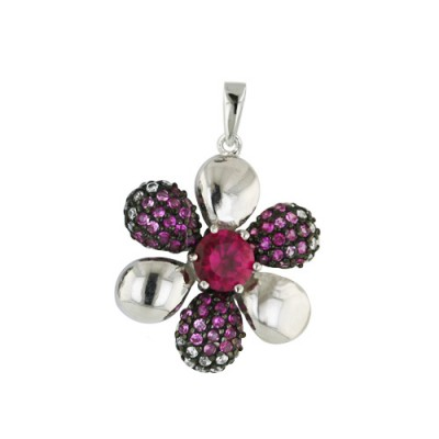 Sterling Silver Pendant 22mm Petals Flower Synthetic Ruby Center