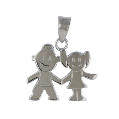 Sterling Silver Pendant 18.41-13.98mm Boy and Girl with Bail