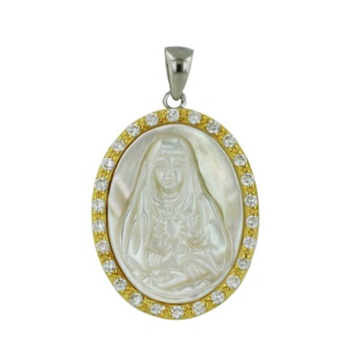 Sterling Silver Pendant Oval Mother of Pearl Engraved Maria Cameo with Clear Cubic Zirconia Arou