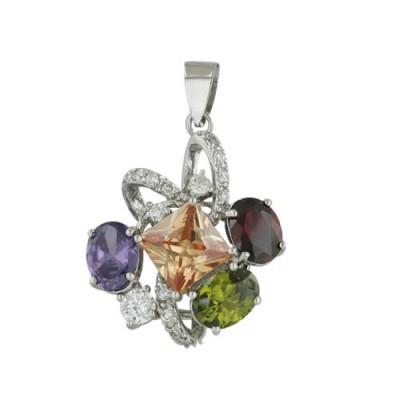 Sterling Silver Pendant Multicolor-Color Cubic Zirconia Amethyst+Champagne+Olivine+Garnet Multicolor Shape Cubic Zirconia
