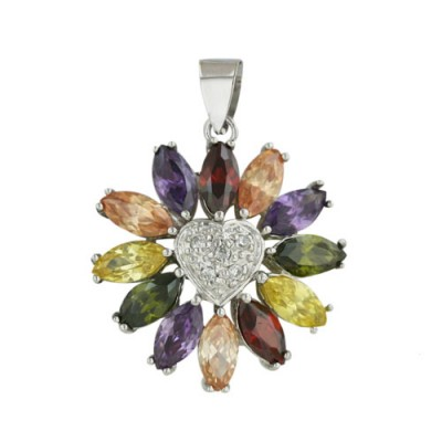 Sterling Silver Pendant Multicolor-Color Cubic Zirconia Heart Burst Clear Cubic Zirconia-Gn+Champagne+