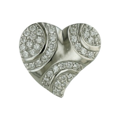 Sterling Silver Pendant Slanted Heart with Clear Cubic Zirconia
