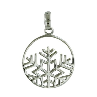 Sterling Silver Pendant Open Circle with Partial Snowflake