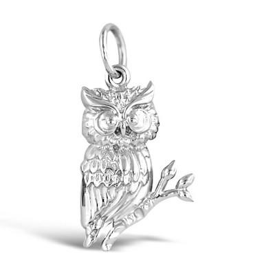 Sterling Silver Pendant Detail Owl Profile-Rhodium Plating-