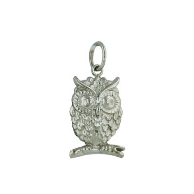 Sterling Silver Pendant Detail Owl on Branch-Rhodium Plating-