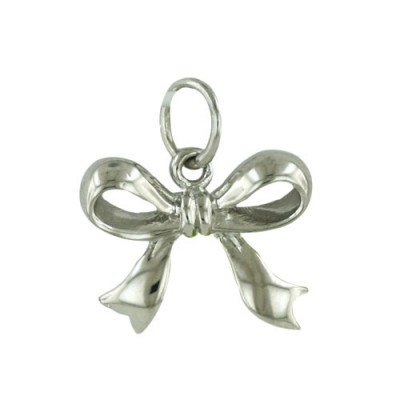 Sterling Silver Pendant Ribbon Bow with Open Loop-Rhodium Plating-