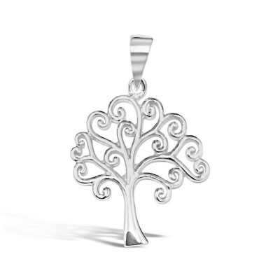 (Bail) Sterling Silver Pendant Tree with Curly Ends Thinner Branches