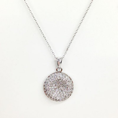 Sterling Silver Pendant Paved Dome with Concave Center