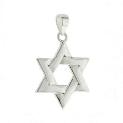 Sterling Silver Pendant Plain Silver Star of David
