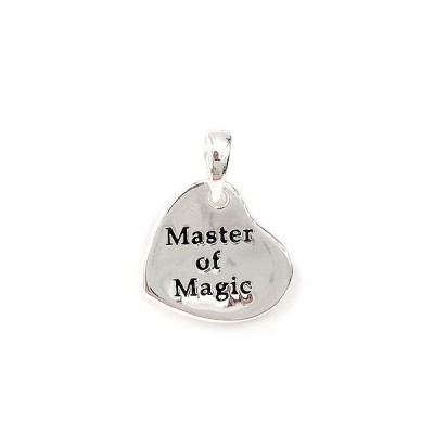"Sterling Silver Pendant Heart on Bail with ""Master of Magic"""