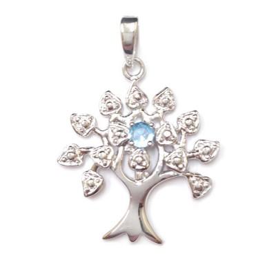 Sterling Silver Pendnat Tree of Life Birthstone Aqua Marine Glass