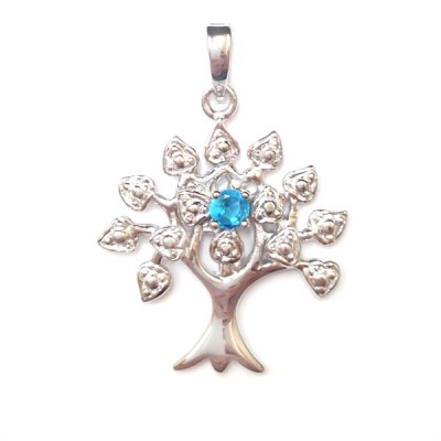 Sterling Silver Pendnat Tree of Life Birthstone Aqua Marine Glass