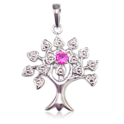 Sterling Silver Pendnat Tree of Life Birthstone Ruby Glass
