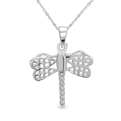 Sterling Silver Pendant Plain Open Wings Dragonfly with Bail