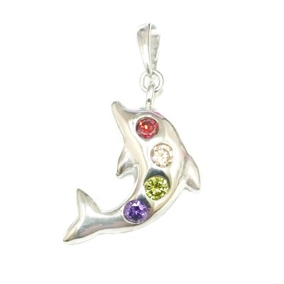 Sterling Silver Pendant Dolphin with Multicolors Cubic Zirconia