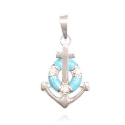 Sterling Silver Pendant Plain Anchor with #34 Aqua Marine Epoxy & Clear Cubic Zirconia Float