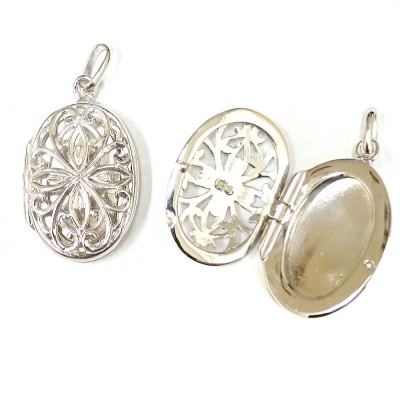 Sterling Silver Pendant Plain Oval Open Filigree Locket with Bail