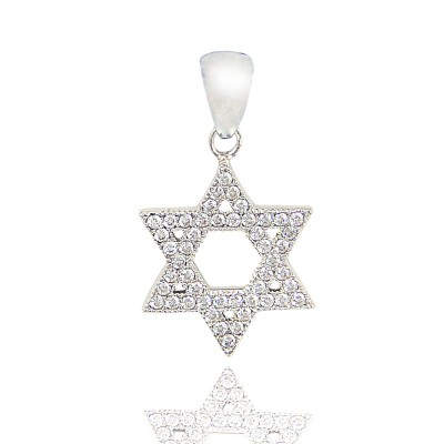 SS Pendant Micro-Paved Star Of David Clr, Clear