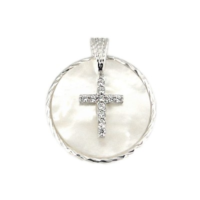 Sterling Silver Pendant Movable Round Mother of Pearl with Clear Cubic Zirconia Cross with Bail