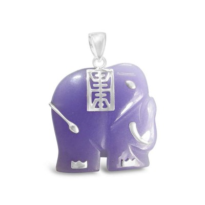 "P. Jade Elephant with Silvr ""Longevity"" Chinese Charc"