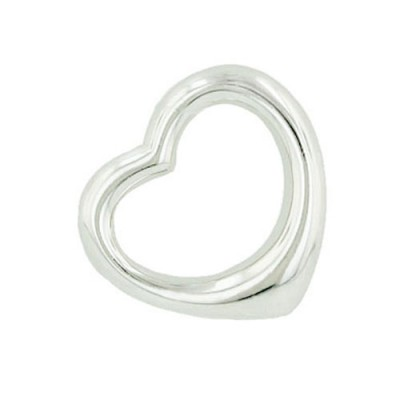 Sterling Silver Pendant 14mm Plain Open Floating Heart--E-Coat