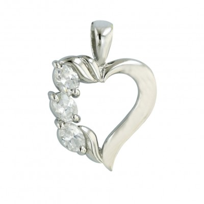 Sterling Silver Pendant Opened Heart 3 Pcs Clear Cubic Zirconia