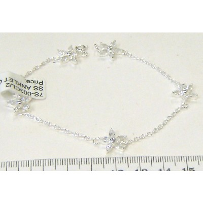 "Sterling Silver Anklet Clear Cubic Zirconia Flower 9.5""--Silver Plated"