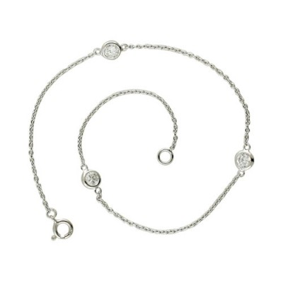 Sterling Silver Anklet 9.5 In. 3 Round Clear Cubic Zirconia Bezel