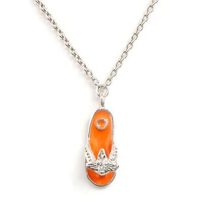 """Sterling Silver Anklet 9.75"""" Darling Orange Slipper with Flower D"""