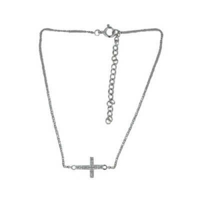 "Sterling Silver Anklet Sideway Clear Cubic Zirconia Cross on 9""+2"" Chain"