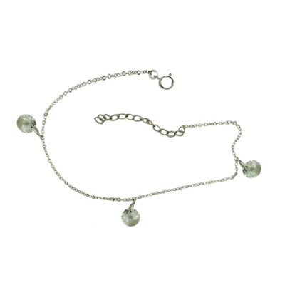 Sterling Silver Anklet 3 Round Chess Cut Clear Cubic Zirconia Dangle