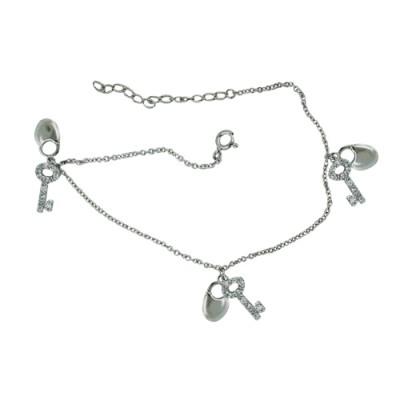Sterling Silver Anklet 3 Set Clear Cubic Zirconia Key+Plain Lock Dangle
