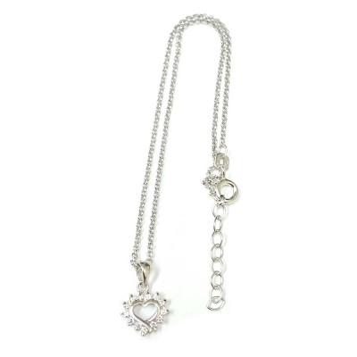 Sterling Silver Anklet Rolo Chain with Clear Cubic Zirconia Heart Charm
