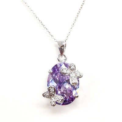 Sterling Silver Pendant 15X20mm Lav. Oval Cubic Zirconia with 2 Butterfly