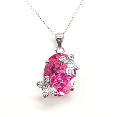 Sterling Silver Pendant 15X20mm Pink Oval Cubic Zirconia with 2 Butterfly