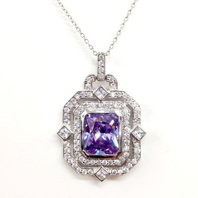 Sterling Silver Pendnt 10X12mm Lavander Cushion Clear Cubic Zirconia Bezel