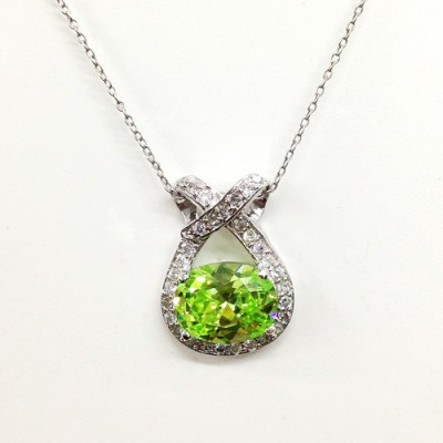 Sterling Silver Pendant 14X11mm Light Green Cubic Zirconia Clear Cubic Zirconia Ribbon