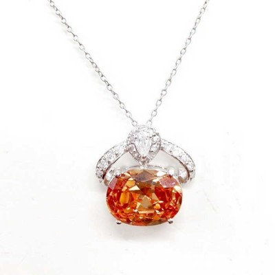 Sterling Silver Pendant 15X11mm Champagne Oval Clear Cubic Zirconia Tear Drop on Top