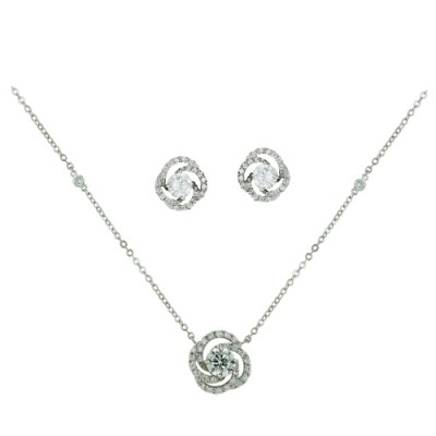 Brass Necklace Earring Swirl Center Cz Rolo Chain