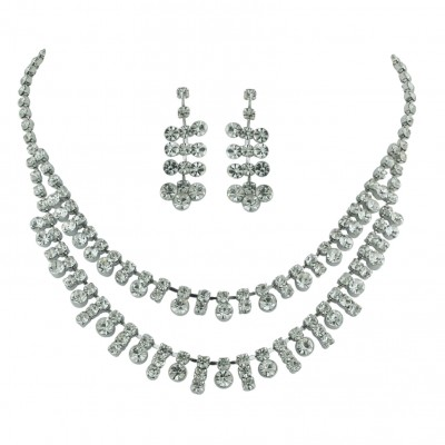 Brass With Rh Necklace+Earg Set Clear Crystal Dbl, Clear